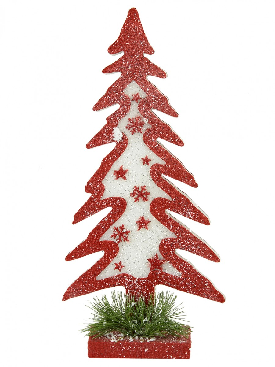 Dacron red white christmas tree with pine needles for White tree red ornaments