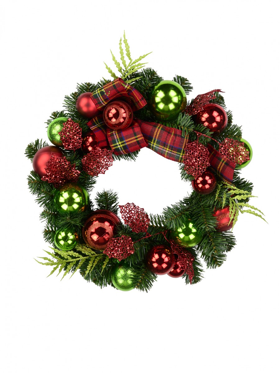Red Amp Green Bauble Pre Decorated Wreath With Tartan Ribbon