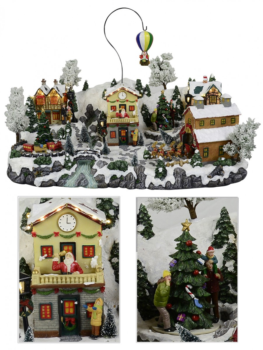almost sold out illuminated animated musical north pole village scene 58cm - Animated Christmas Village