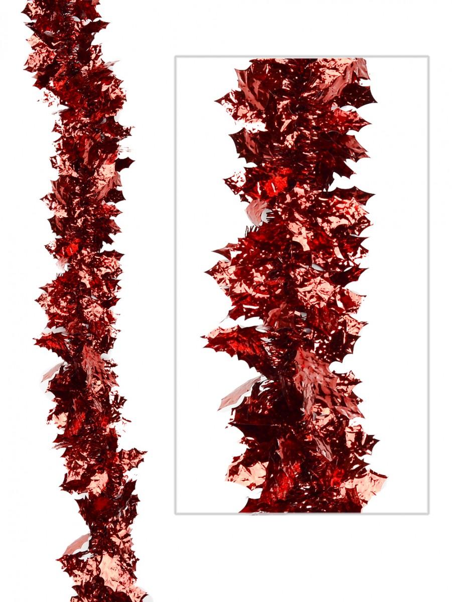 Red holly leaf tinsel garland m garlands wreaths