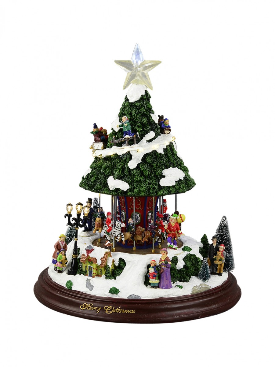 Amazing Christmas Musical Scenes Ornaments Part - 3: Illuminated, Animated U0026 Musical Carousel In Christmas Tree Fair Scene  Ornament - 42cm