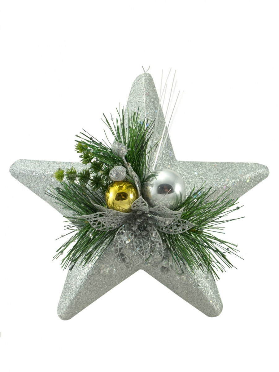 Silver star hanging decoration cm christmas
