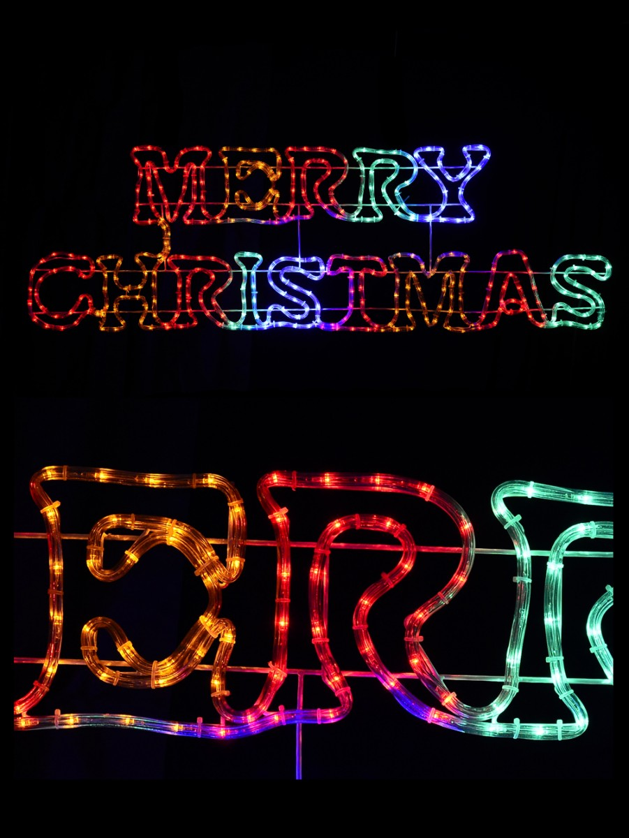 multi colour merry christmas led rope light silhouette 16m
