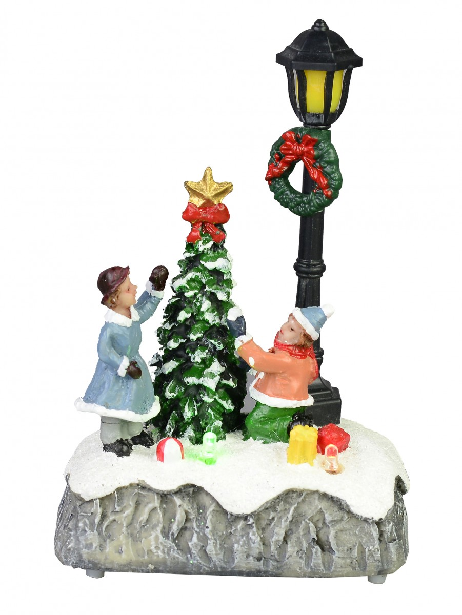 children by a christmas tree lamp post scene illuminated 15cm - Light Post Christmas Decorations