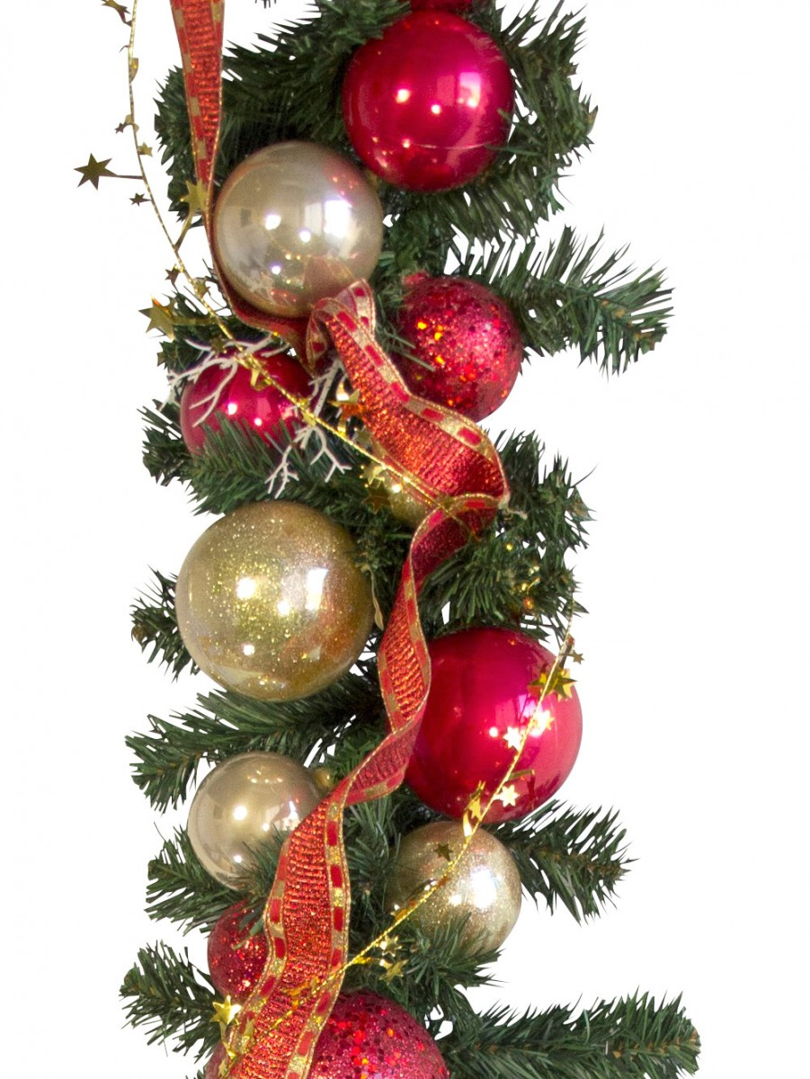 59265272826e Pre-decorated Red & Gold Bauble & Pine Garland - 2.7m | Garlands ...