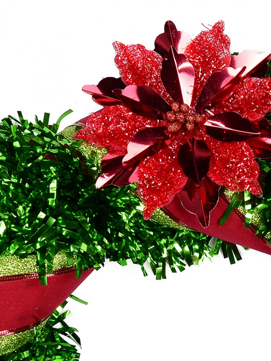 Metallic green 2d tinsel wreath with poinsettia decoration for 5ft poinsettia garland christmas decoration