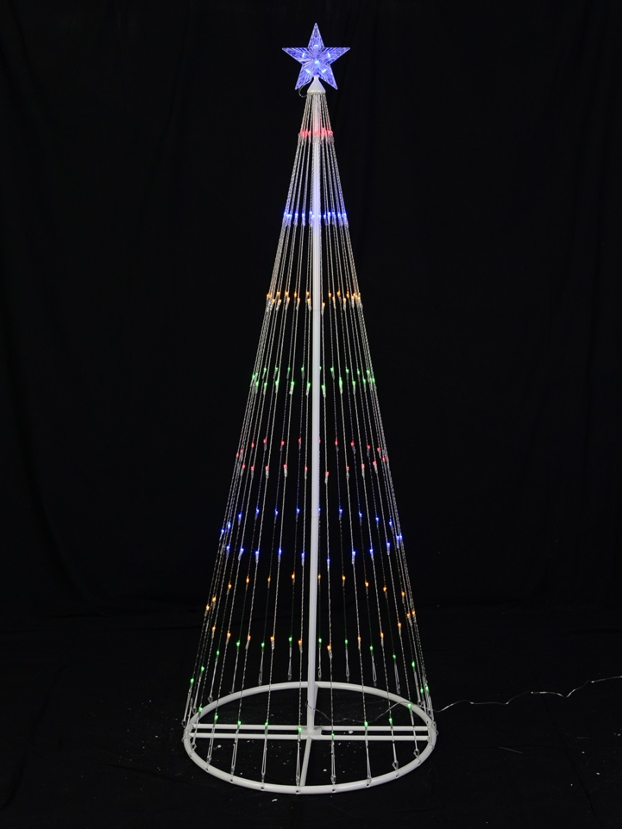 multi colour led christmas tree with flashing blue star 195m