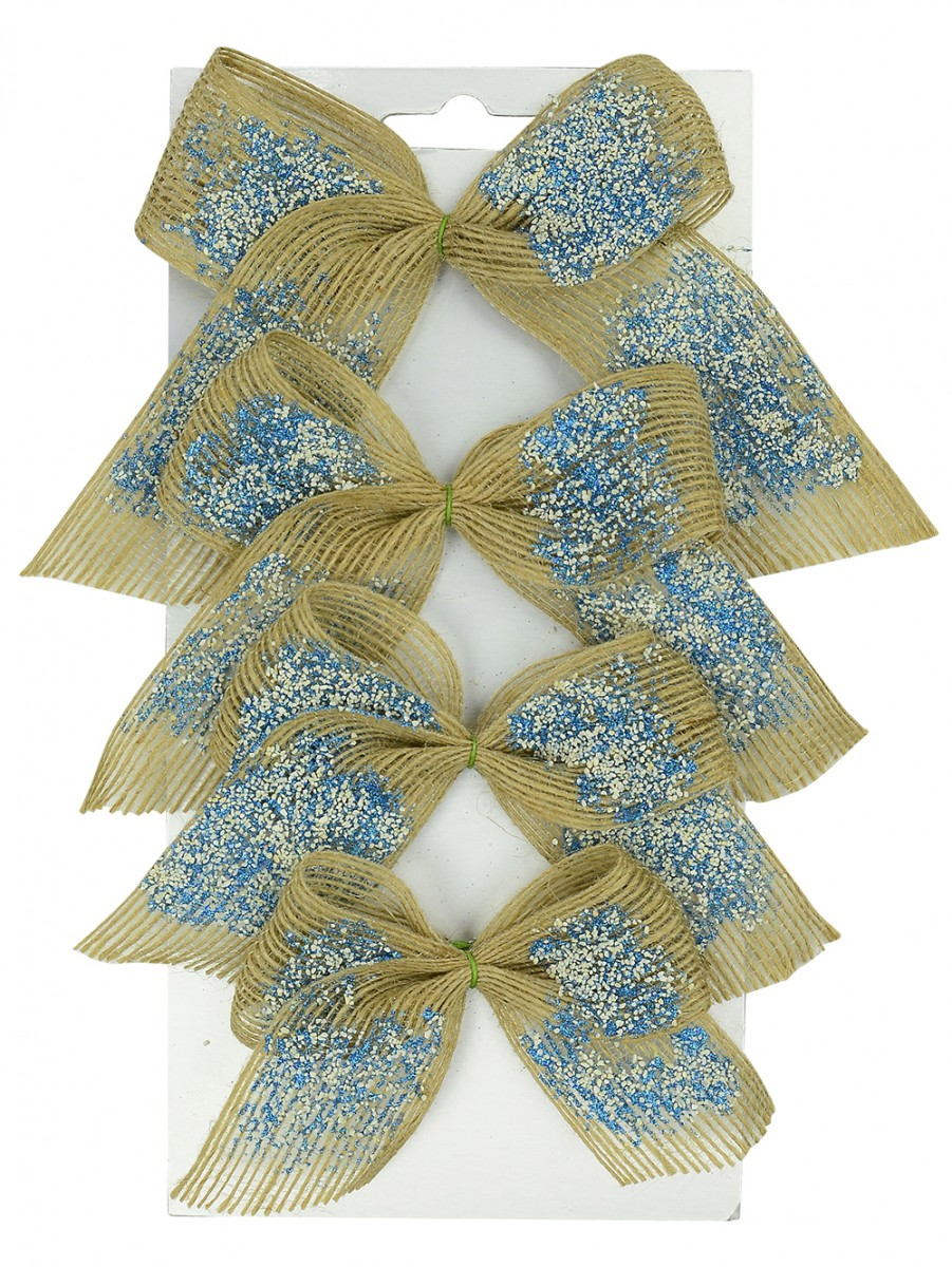 Silver & Turquoise Hessian Bow Decorations - 4 X 19cm ...