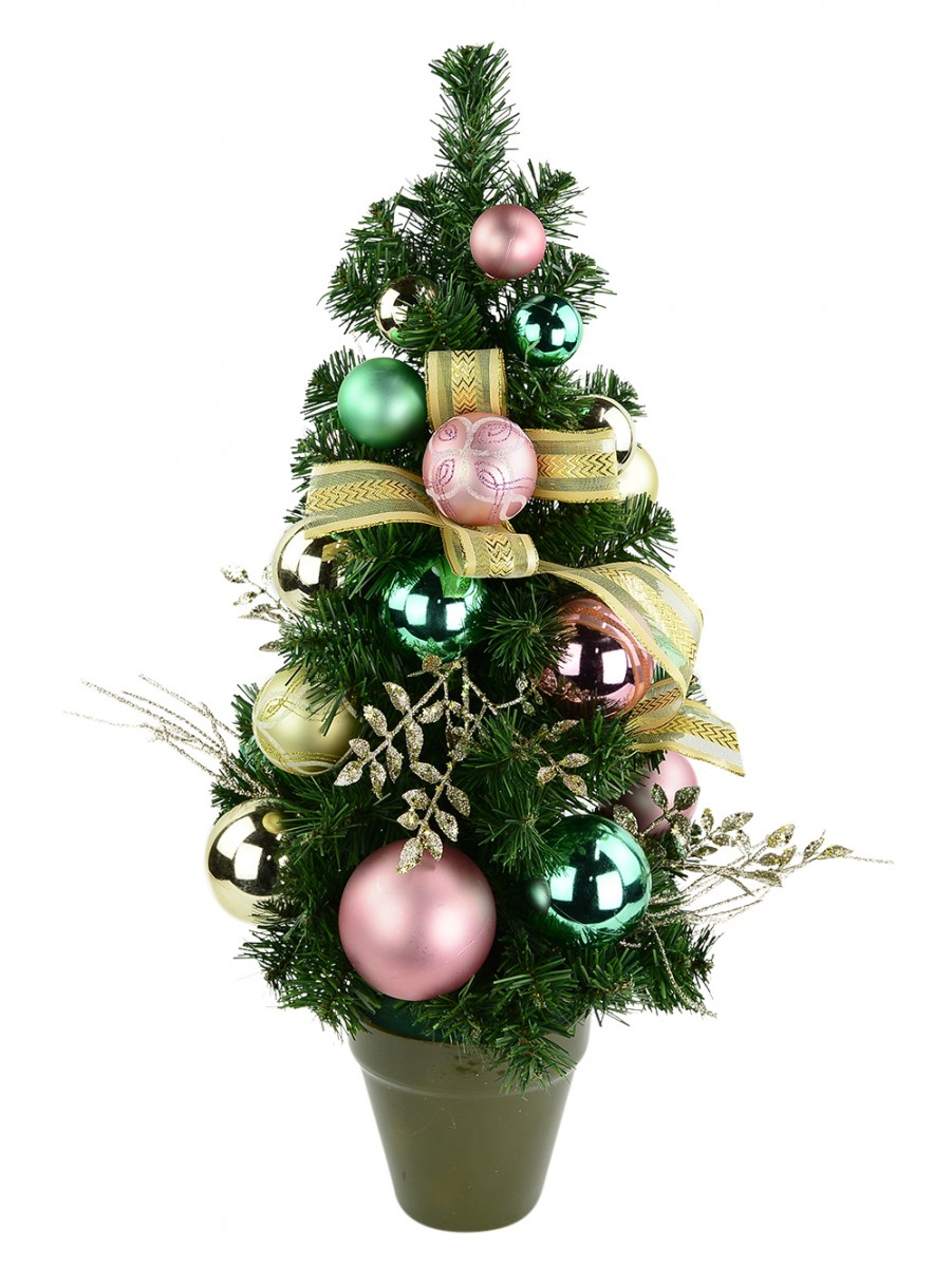 gold pink mint green pre decorated table top tree 65cm