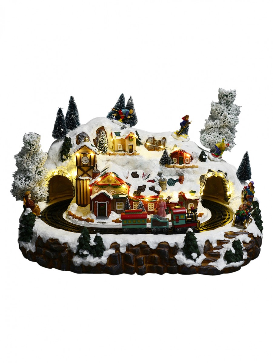 Christmas Musical Scenes Ornaments Part - 22: Illuminated, Animated U0026 Musical Skiing Mountain U0026 Train Scene Ornament -  41cm