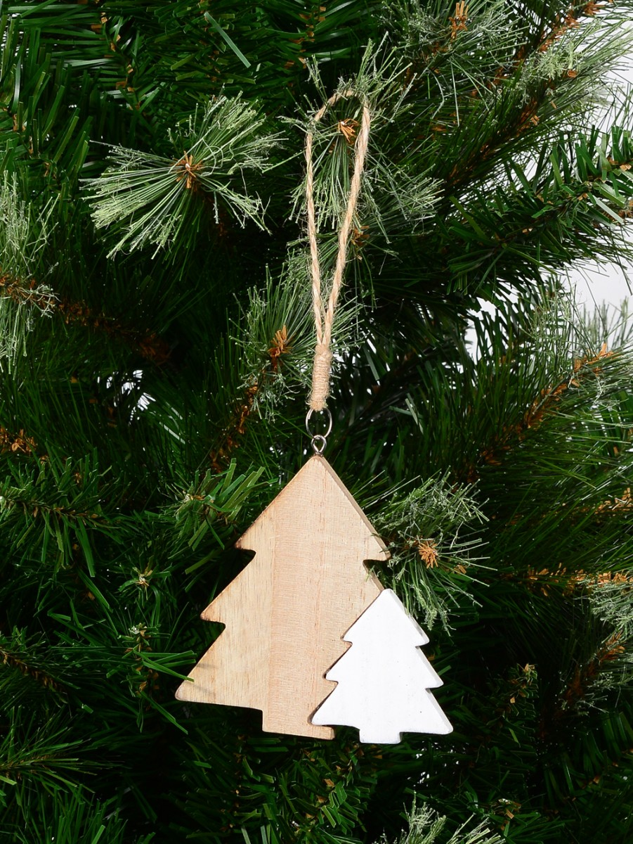 Natural White Wooden Christmas Trees Hanging Decoration 10cm Ornaments Buy Online From The Christmas Warehouse
