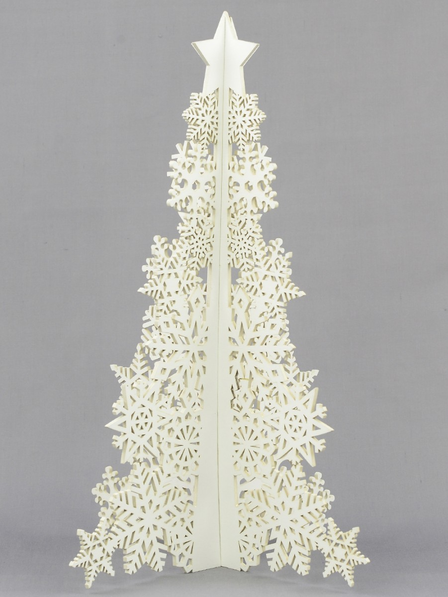 3d white laser cutout wooden table top tree 25cm ornaments