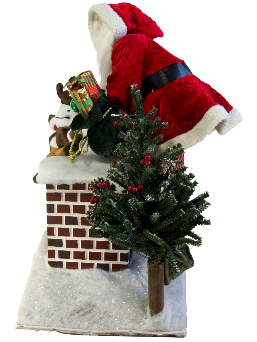 Large Decorative Santa Climbing In Chimney With Gifts