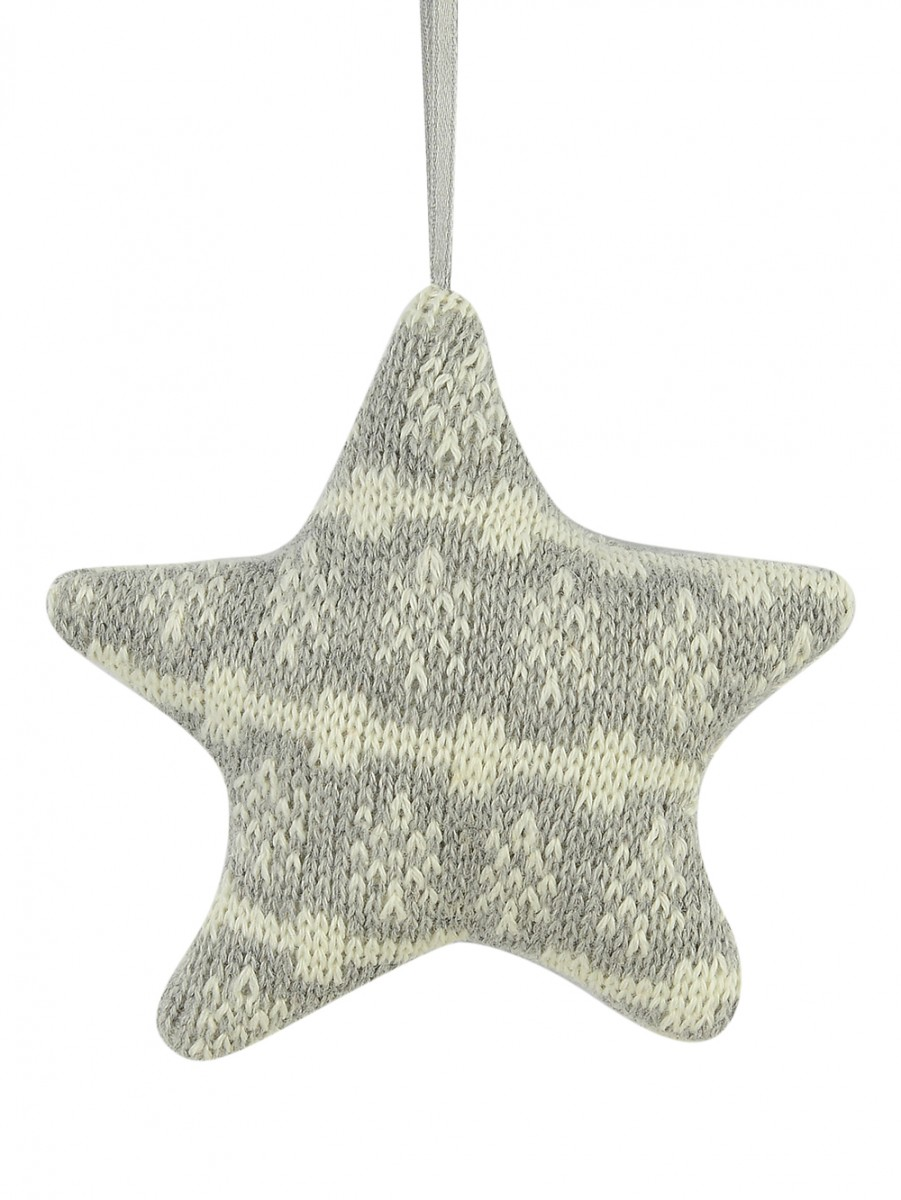 Grey Knitted Fabric Star With Snowflake Pattern Hanging Ornament ...