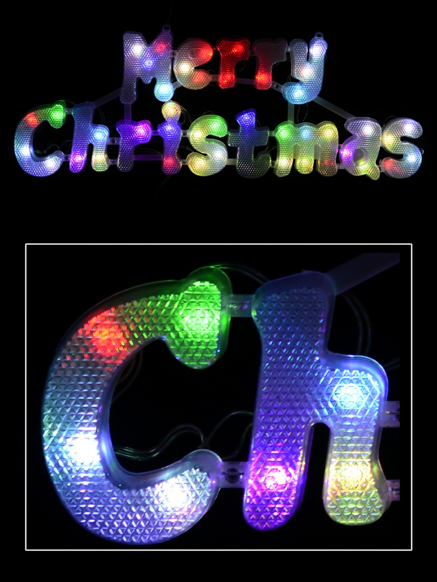 Multi Colour Auto Change Twinkle Led Merry Christmas Sign