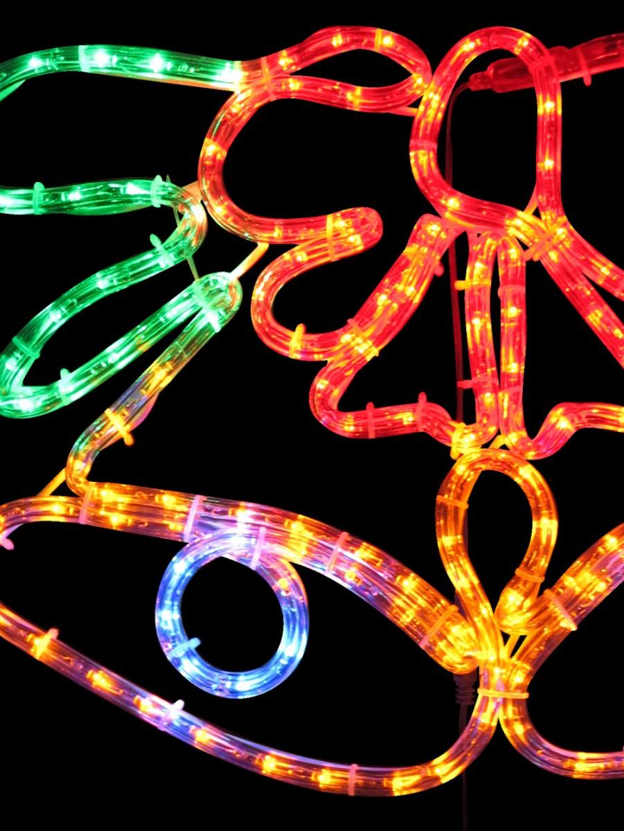 Multi Colour Christmas Bell Led Rope Light Silhouette