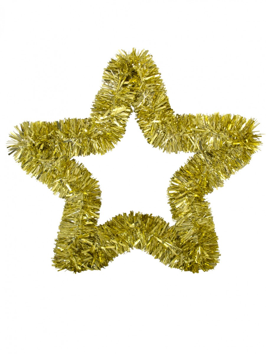 Gold metallic tinsel star hanging decoration cm