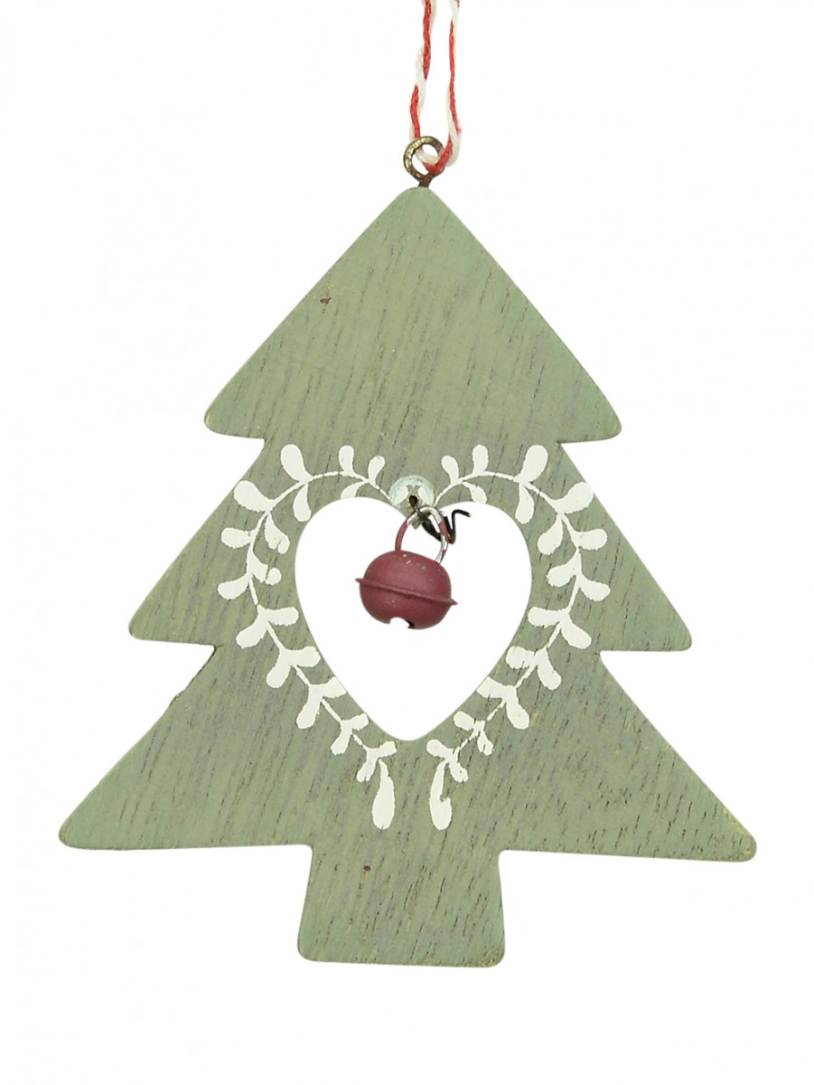 Wooden green tree with red bell hanging ornament cm