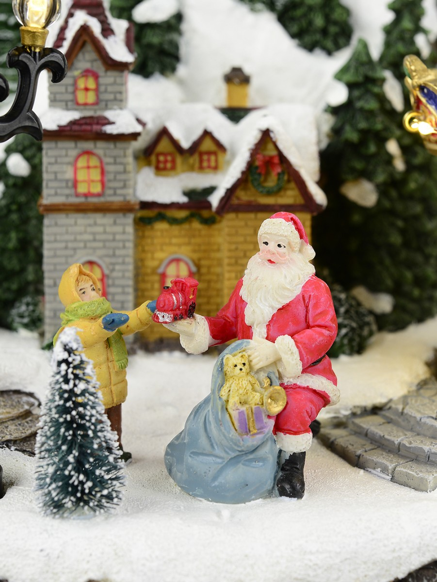Christmas Musical Scenes Ornaments Part - 29: ... Animated U0026 Musical Christmas Snowy Hillside Village Scene Ornament ...