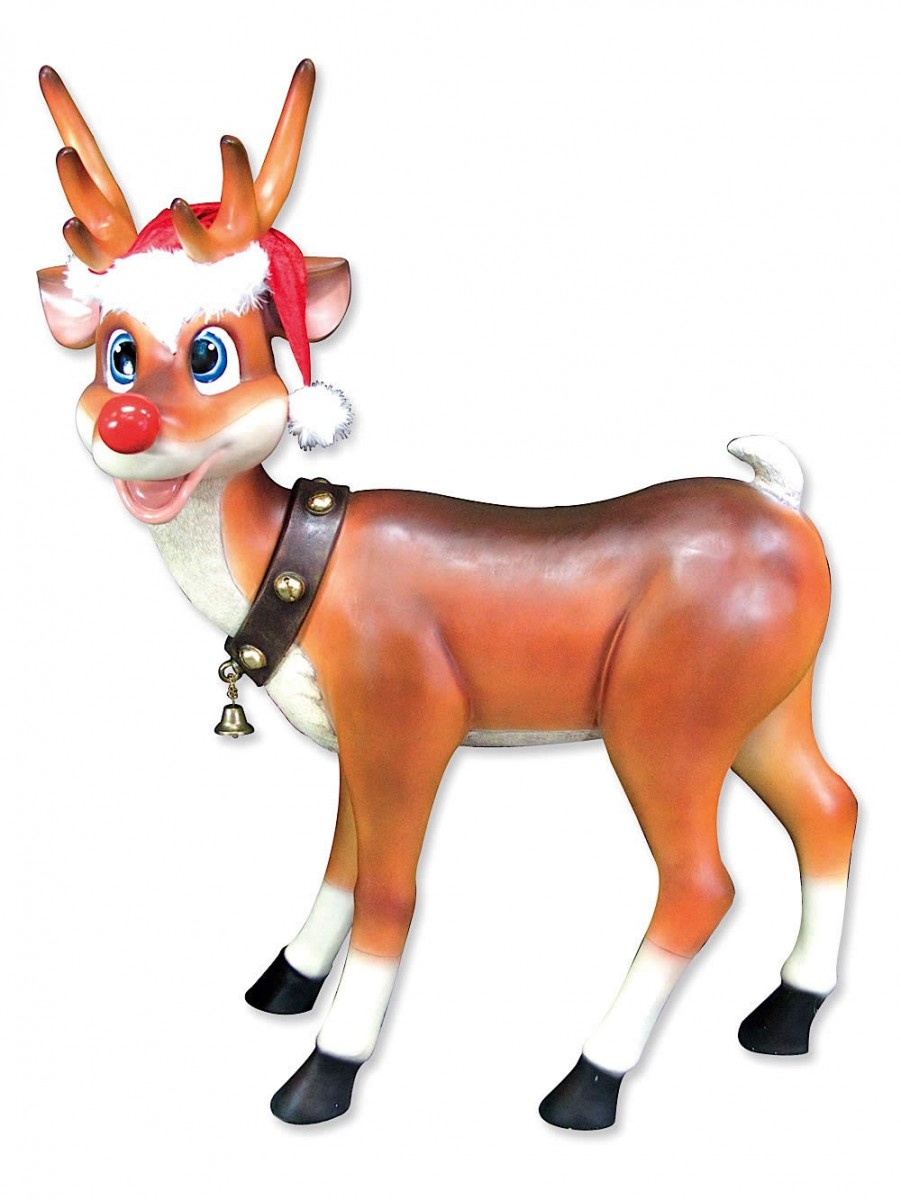 Red and brown christmas tree decorations - Cute Standing Resin Reindeer Decor 1 1m Large Decor
