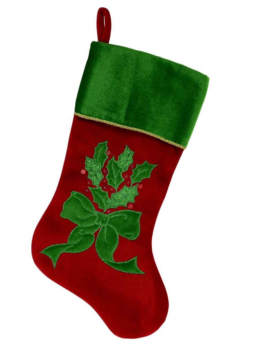 f9c87e6dd60 Red   Green Velvet Stocking With Gold Cord Trim   Holly Leaf Applique    Embroidery - 46cm. home » christmas decorations » ...
