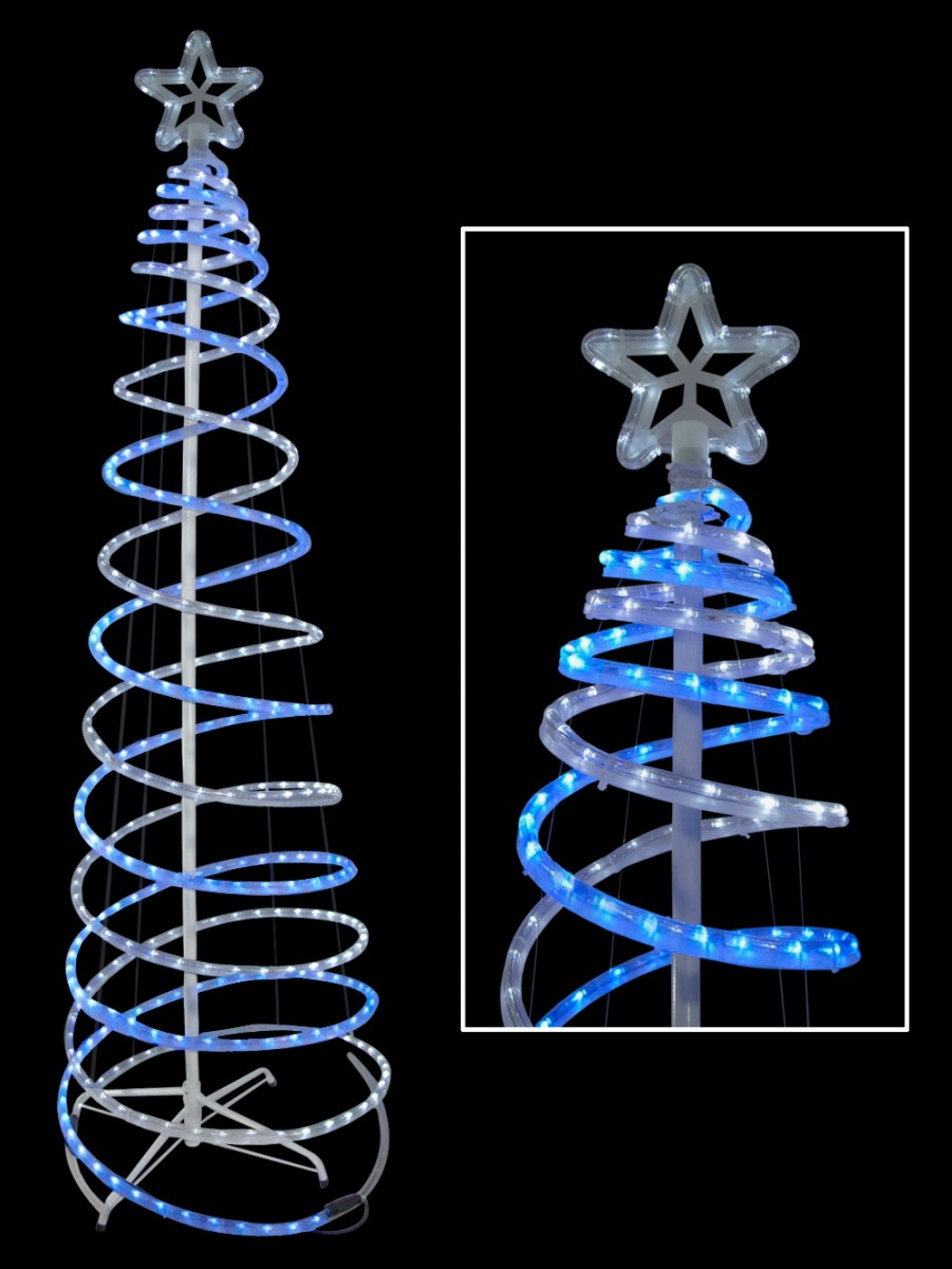 Spiral Trees - Blue & Cool White 3d Led Rope Light Tree ...