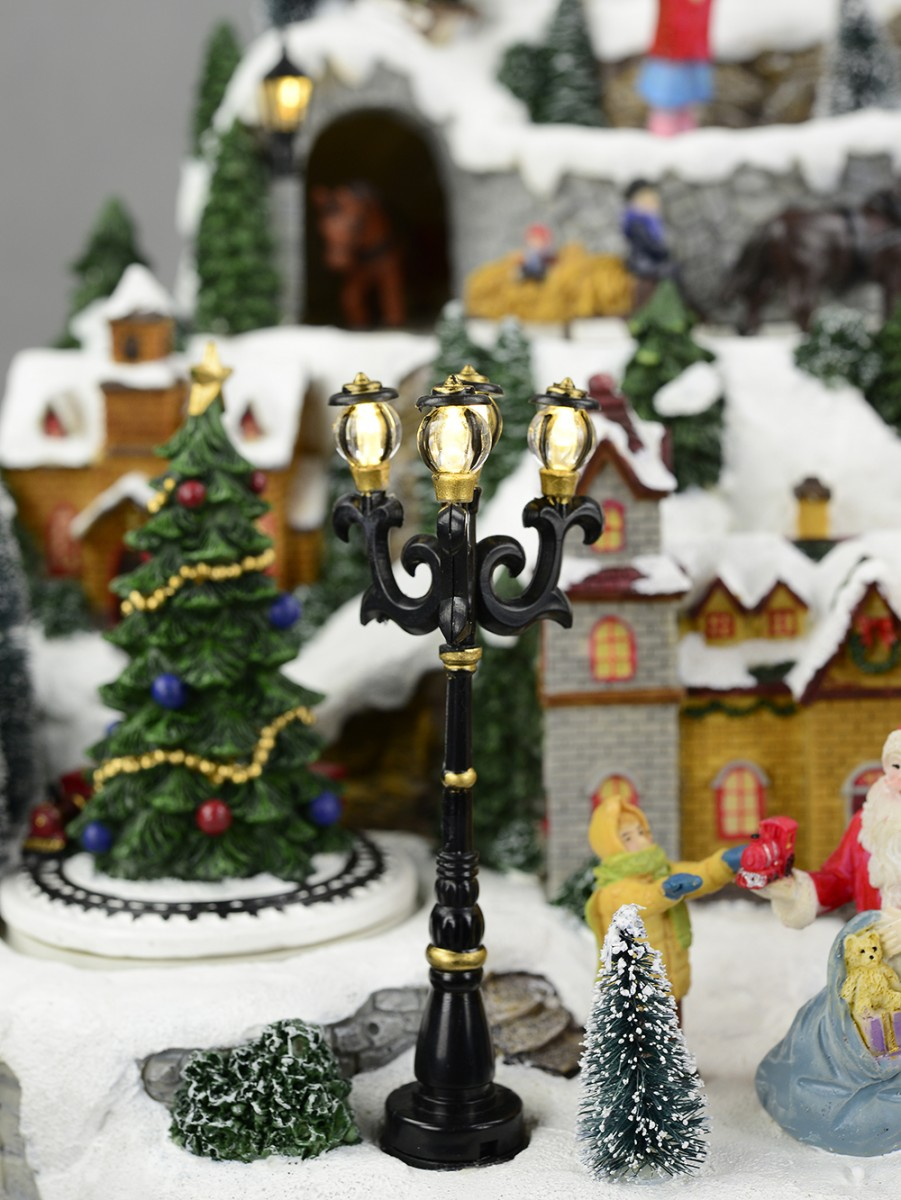 Wonderful Christmas Musical Scenes Ornaments Part - 12: ... Animated U0026 Musical Christmas Snowy Hillside Village Scene Ornament ...