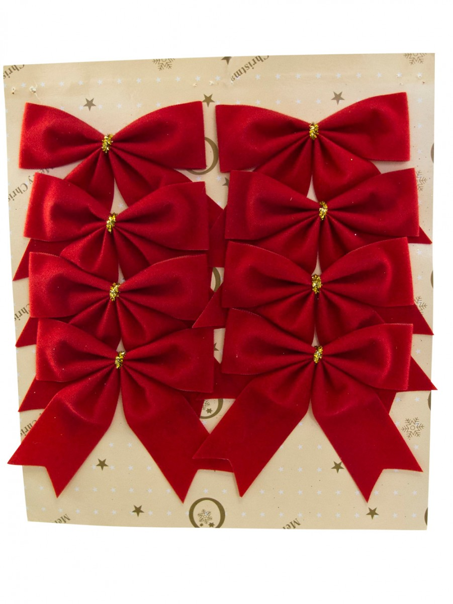Christmas Decorations Red Bows : Red velvet bow decoration mm christmas