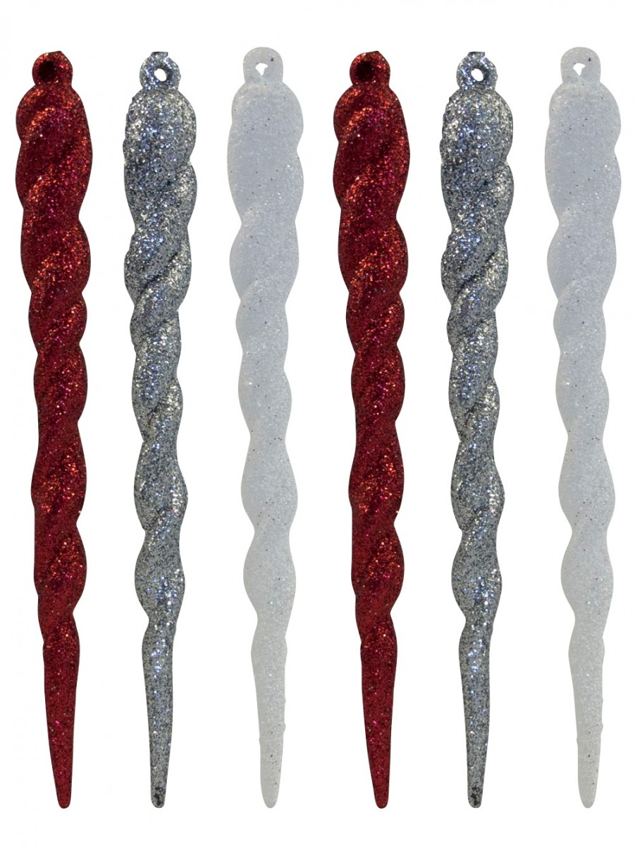 Red, White & Silver Glittered Icicle Decorations - 12 X 13cm ...