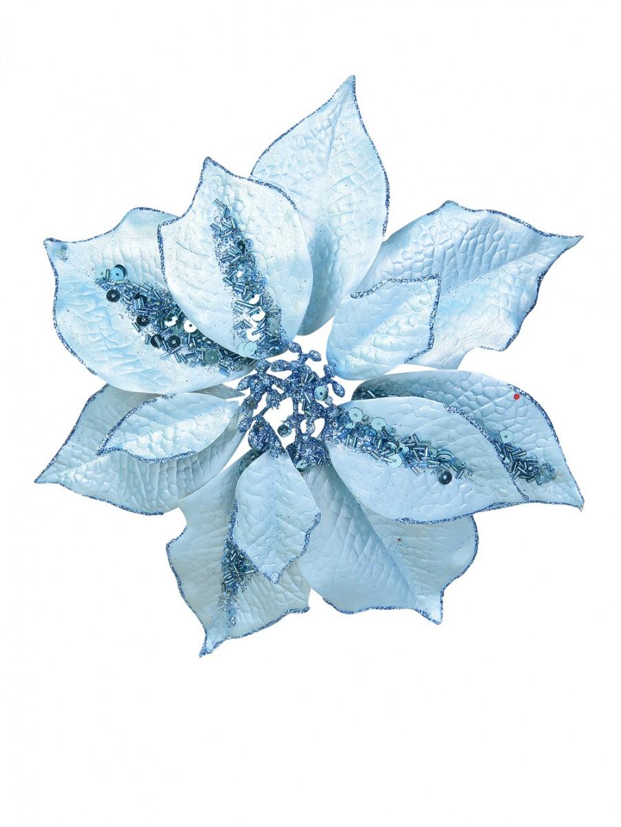 Light Blue Poinsettia Clip On - 28cm | Christmas ...