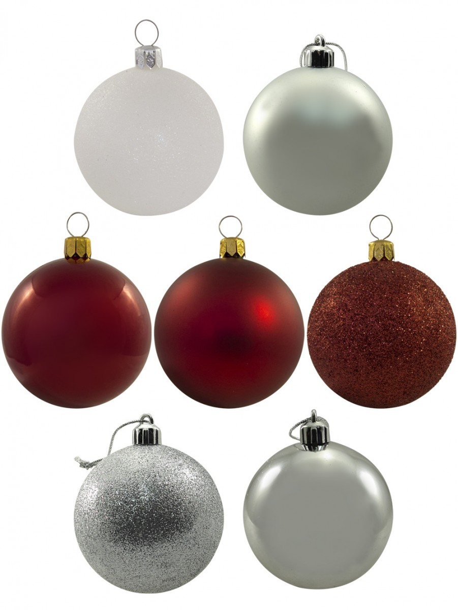 selling fast red white silver baubles 12 x 60mm