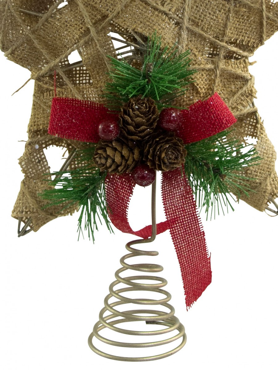 Hessian jute 3d star tree top decoration 30cm for Decoration 75017