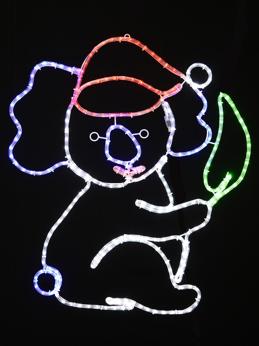 Christmas Koala Holding Gum Leaf Rope Light Silhouette