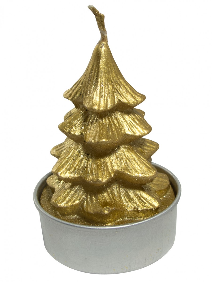 Gold christmas tree tea light candles pack 6 x 55mm for Gold christmas tree lights