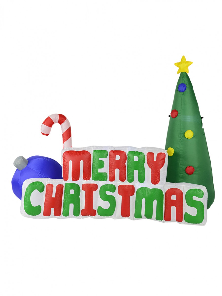 Large Merry Christmas Motif With Tree, Candy Cane & Bauble ...