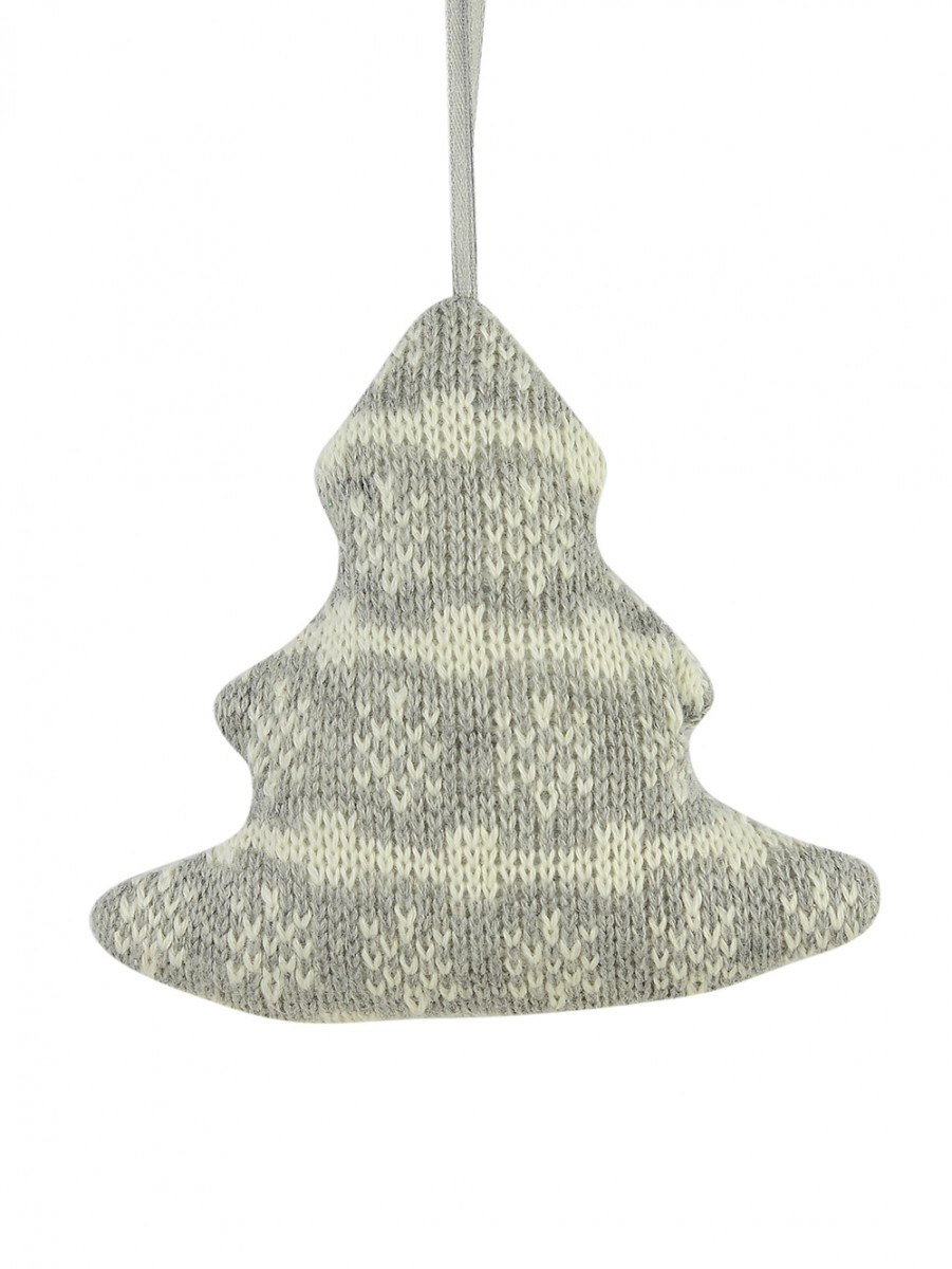 Grey Knitted Fabric Tree With Snowflake Pattern Hanging Ornament ...