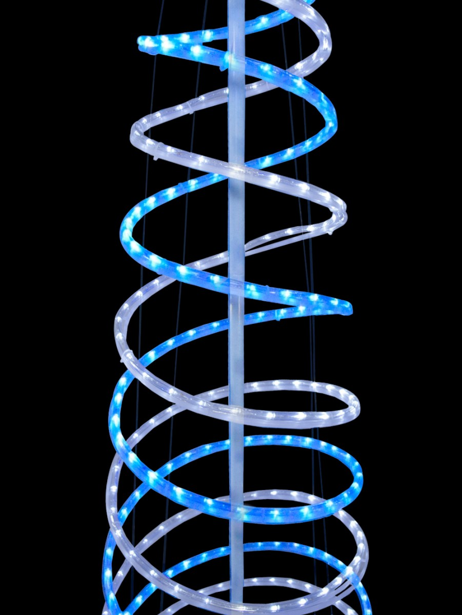 Blue Amp Cool White 3d Led Rope Light Spiral Tree 1 8m