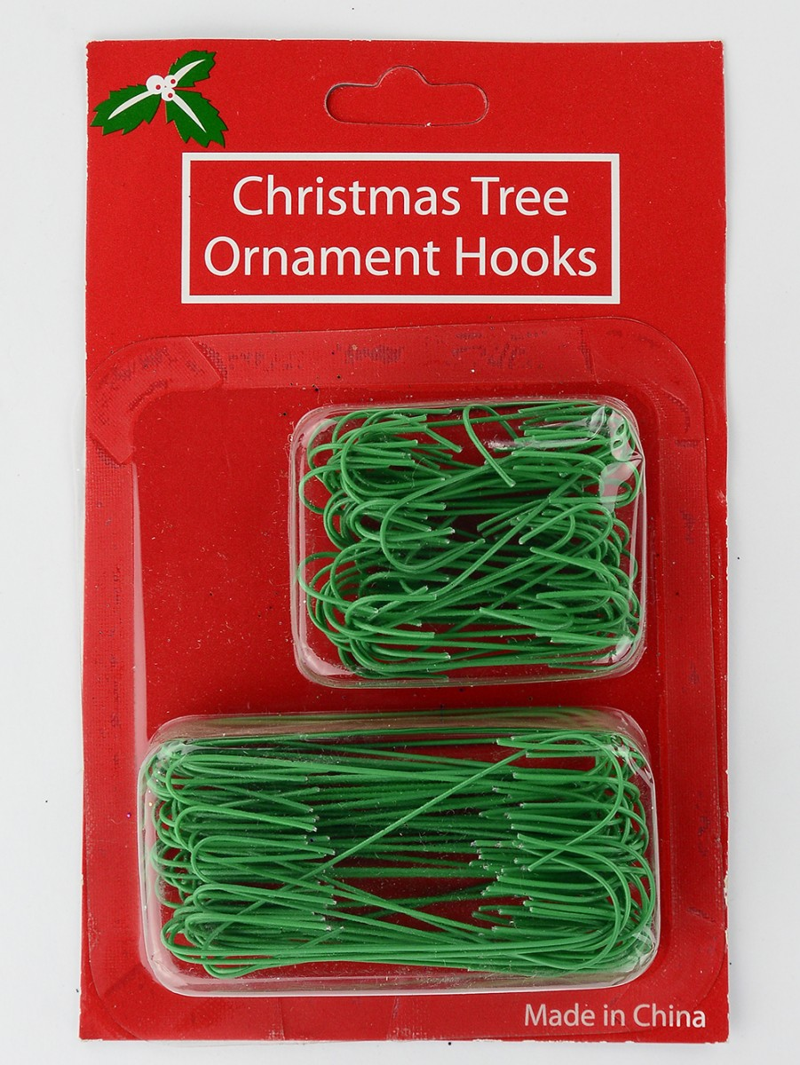 Green wire ornament decoration hanger 100 pack for Christmas decoration packs