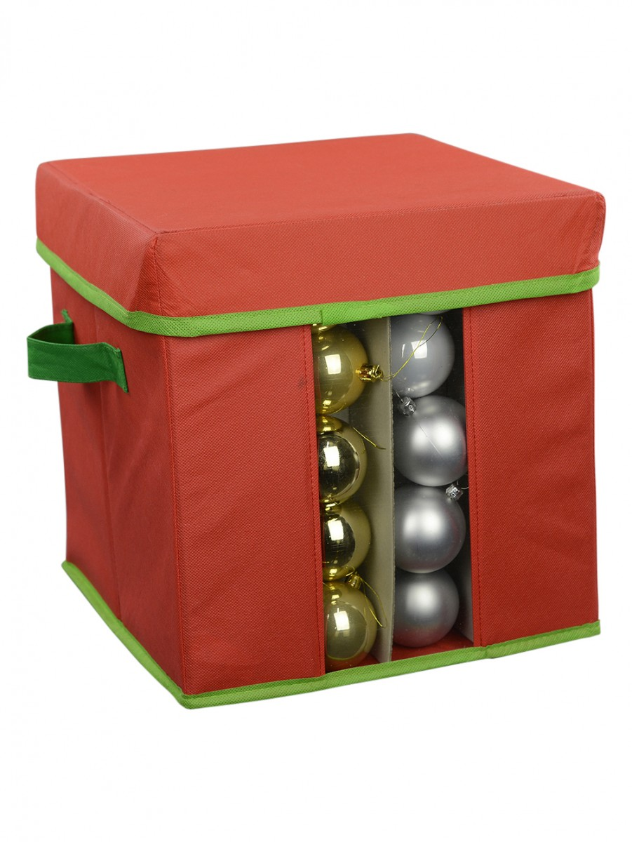 red green bauble decoration storage box 30cm - Christmas Decoration Storage Box