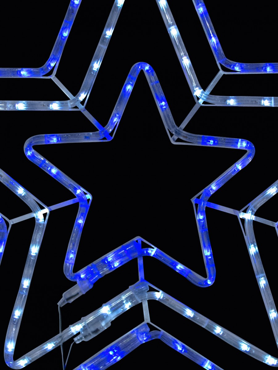 Blue Amp Cool White Led Triple Star Rope Light Silhouette