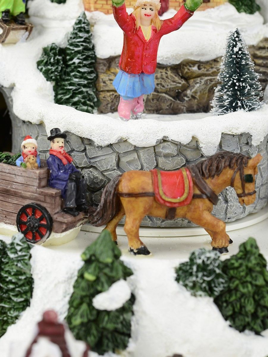 Christmas Musical Scenes Ornaments Part - 33: ... Animated U0026 Musical Christmas Snowy Hillside Village Scene Ornament ...