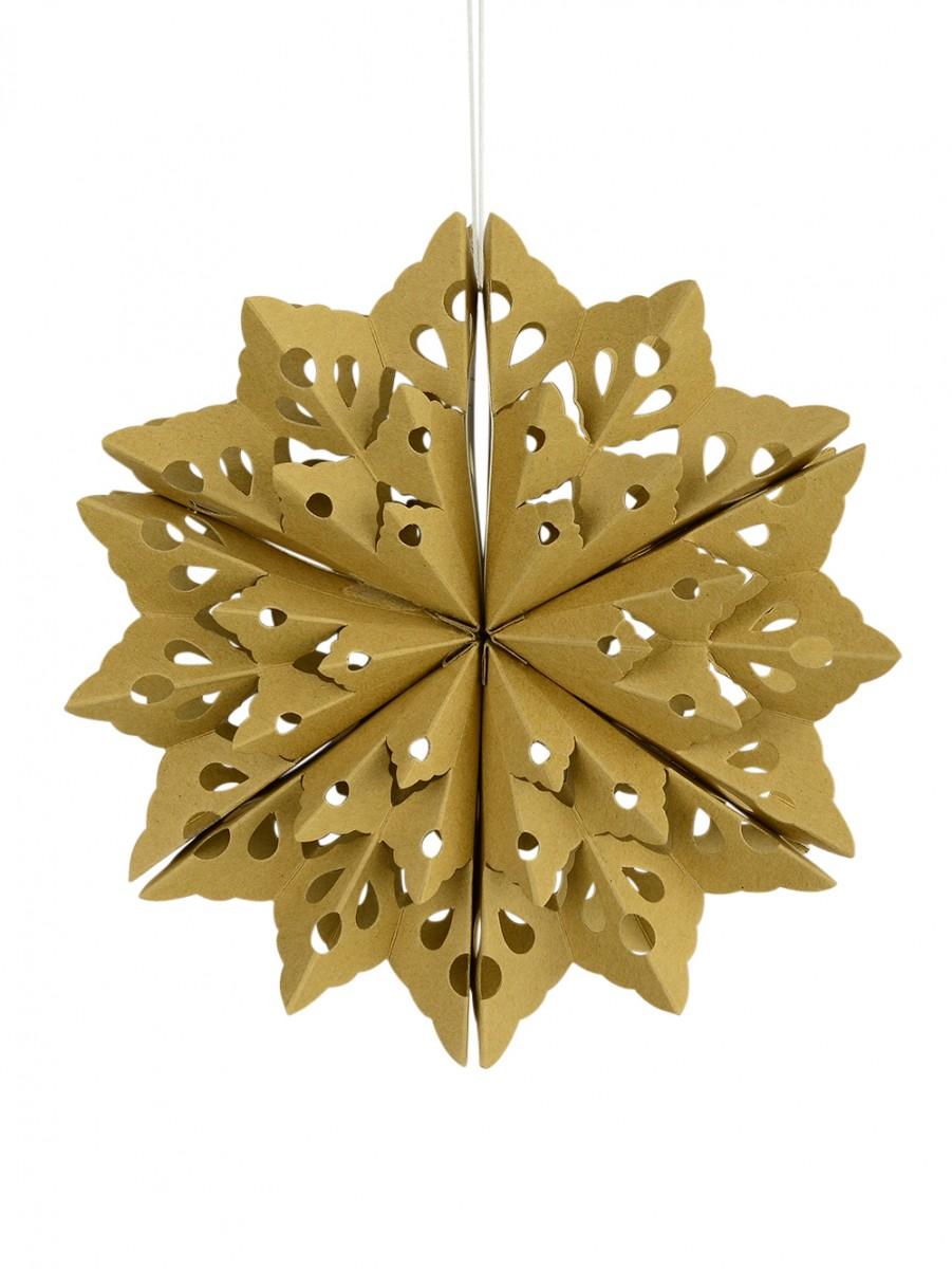 Geometric foldig paper gold snowflake hanging decoration for 3d hanging snowflake decoration