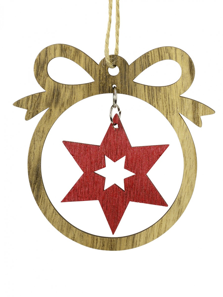 mdf bow with red star cut out hanging decoration 10cm