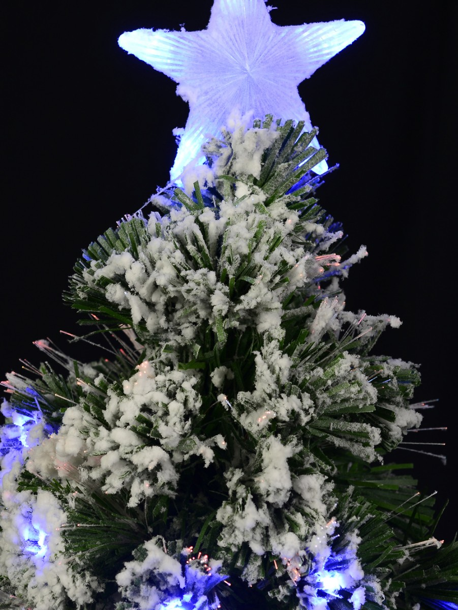 Snow Covered Christmas Tree With Led Star Topper Fiber