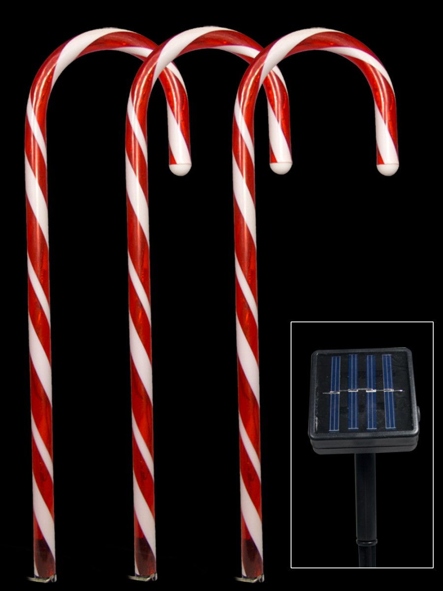 5 red led candy cane solar stake light 54cm - Christmas Stake Lights