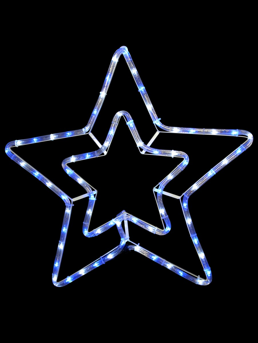 Blue cool white led double star rope light silhouette 52cm blue cool white led double star rope light silhouette aloadofball Choice Image