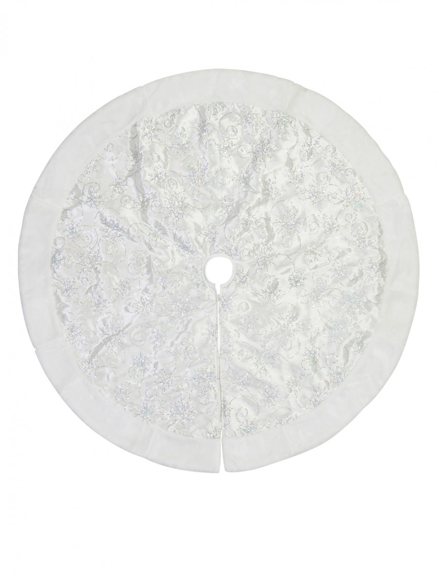 White Tree Skirt With White Sequin Swirl Pattern Faux Fur Trim 1 2m Christmas Decorations Buy Online From The Christmas Warehouse