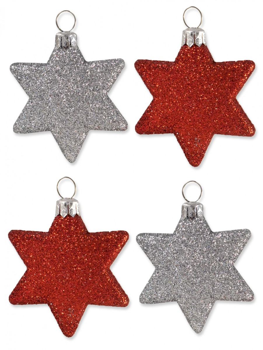 Red silver glittered star decorations mm