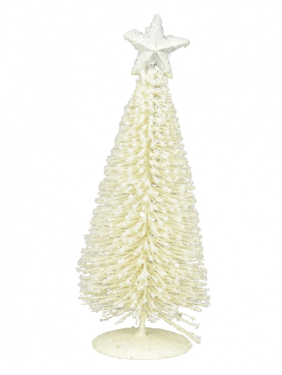 White Iron Christmas Tree With Snow Dust & Star - 19cm | Christmas ...