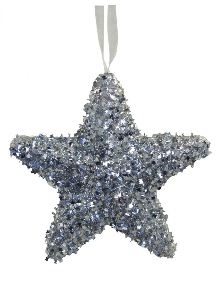 Silver metallic tinsel star hanging decoration cm